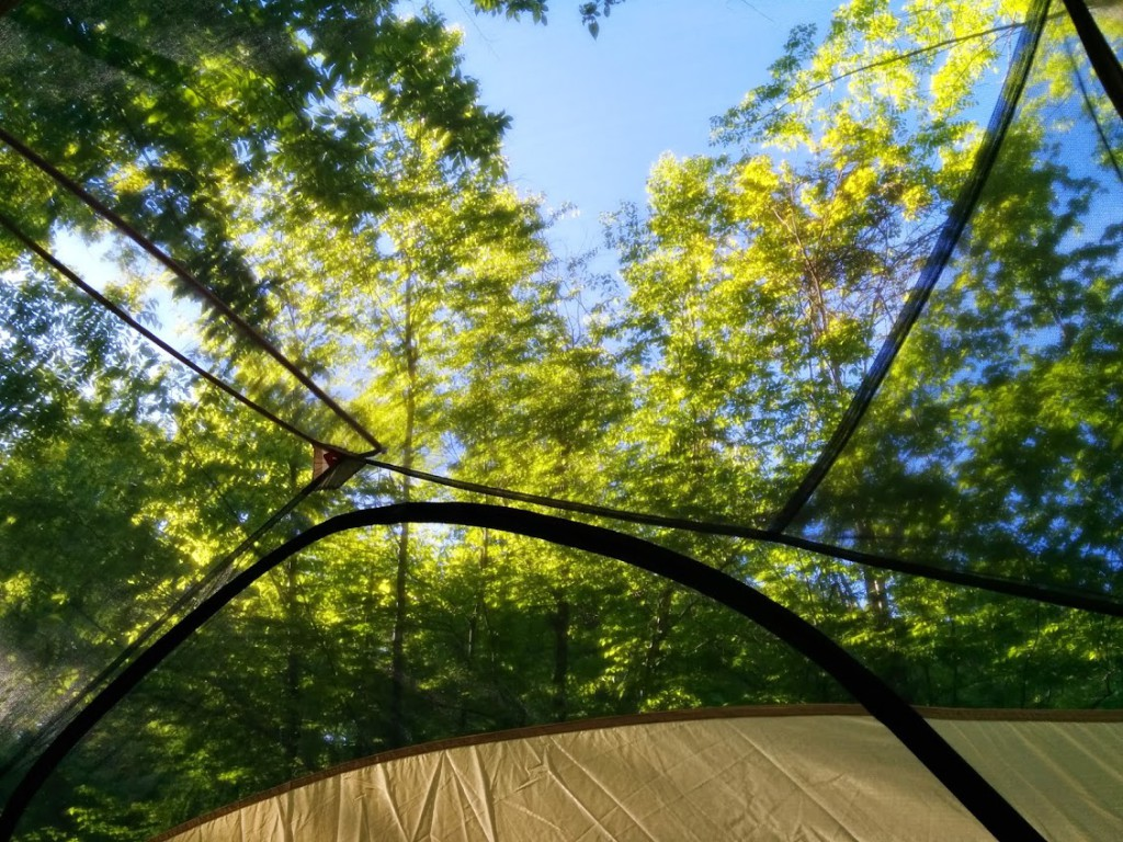 View looking up from inside the Big Agnes Copper Spur UL-3