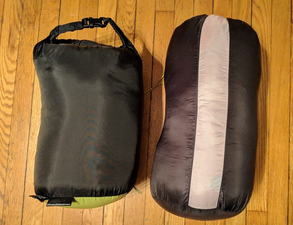 30 degree down bag (left), 20 degree Backcountry Bed 700 (right)