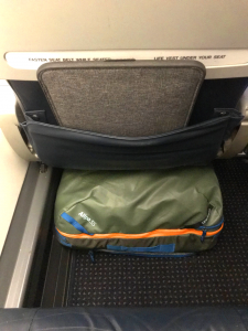 The Allpa 35L fits under standard airline seats, but you may end up resting your feet on it.